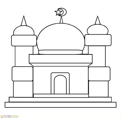 gambar mewarnai masjid nabawi terlengkap