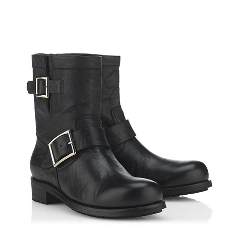 biker boots for jimmy choo youth furlined biker boots in black lyst