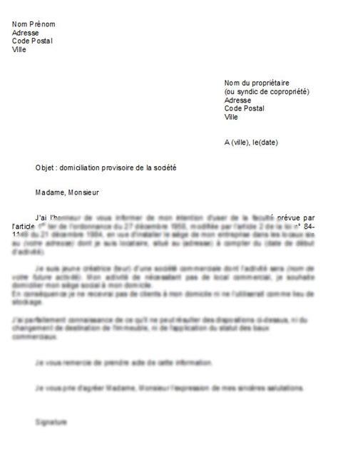 siege social banque accord modèle de lettre domiciliation d 39 une société au domicile