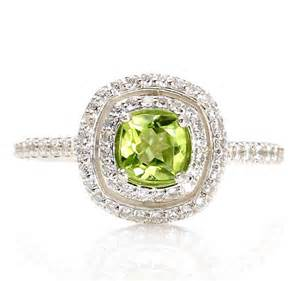 Peridot Halo Engagement Ring