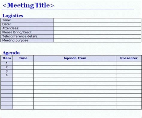 meeting agenda template excel staff board team meeting agenda template word excel