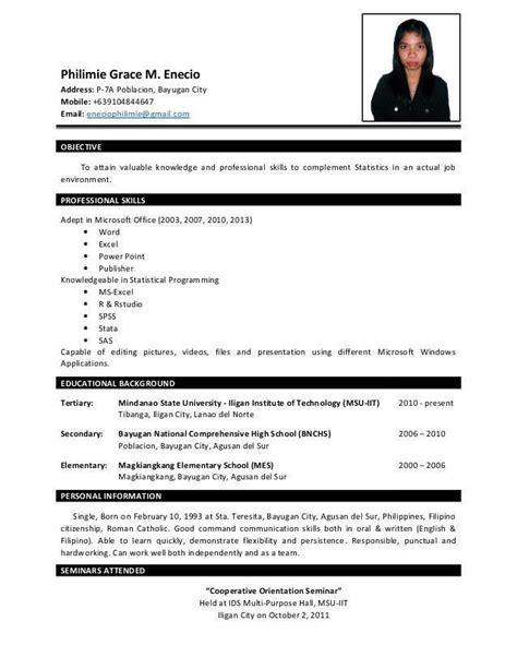 resume sample  fresh graduate excellent resume p enecio