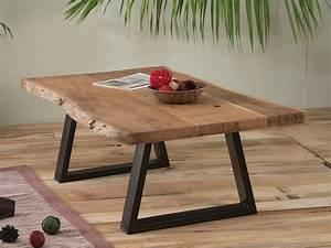 Pied De Table Basse Metal : table basse naturel m tal et bois zen meuble house ~ Teatrodelosmanantiales.com Idées de Décoration