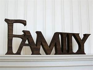 family wood sign wood sign family word sign stained family With family letter sign