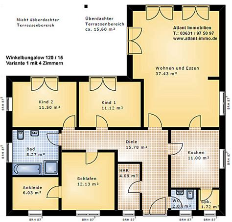 Bungalow 5 Zimmer Grundriss by Winkelbungalow 120 15 Einfamilienhaus Neubau Massivbau