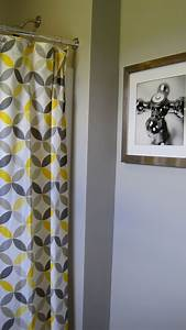 I married a tree hugger cheery yellow and grey bathroom for Gray and yellow bathroom