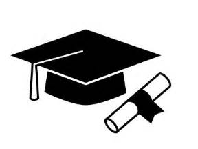 cap and gown high school graduation cap and diploma clipart black and white