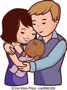 Vector Clipart of Mother father and adopted baby - Vector ...