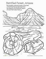 National Parks Coloring Forest Petrified Worksheets Arizona Worksheet Grade Sheets Desert Canyon Grand Adult Studies Social Painted Geography Montessori America sketch template
