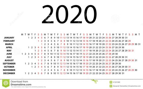 calendario horizontal en blanco ilustracion del