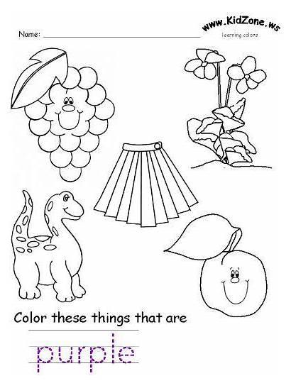 Purple Worksheets Colors Worksheet Preschool Printable Pages