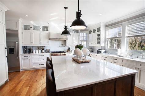 Dark Brass Pendants   Transitional   kitchen   Farrow and