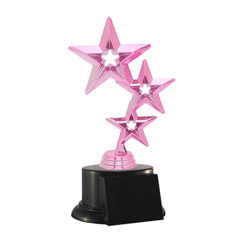 pink breast cancer tri star trophies