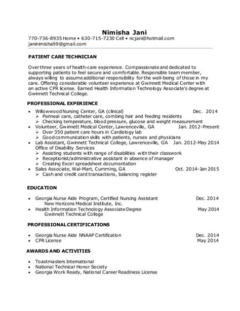 Pct Resume by Nimisha Jani Resume Pct