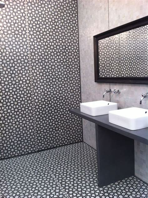 monochrome moroccan style bathroom tiles home