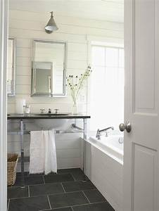 slate floor bathroom cottage bathroom bhg With what kind of paint to use on kitchen cabinets for framed textile wall art