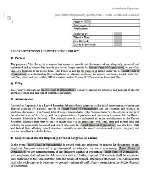Document Retention Policy Template by Document Retention Policy Template Free Word Templates