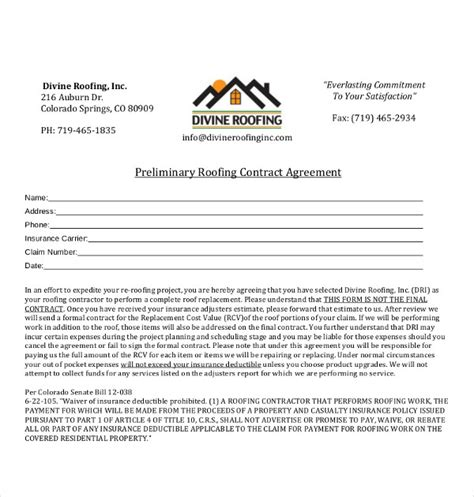roofing contract templates word  google docs