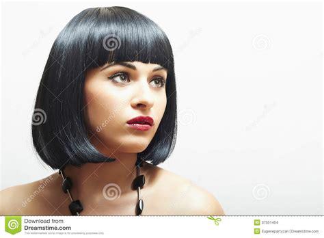 Retro Beautiful Brunette Girl.bob Haircut.red Lips.beauty