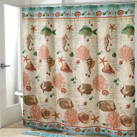 retro shower curtain seaside vintage fish shower curtain