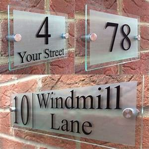 Modern, House, Sign, Plaque, Door, Number, Street, Glass, Effect, Acrylic, House, Name