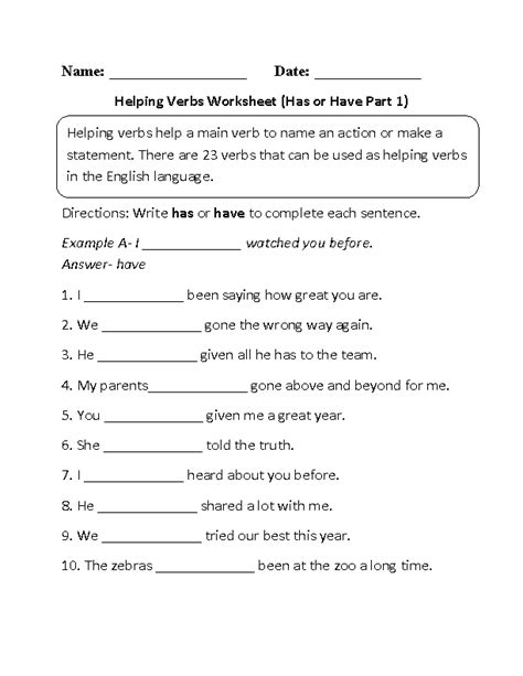 linking verbs for 4th graders to be worksheets and