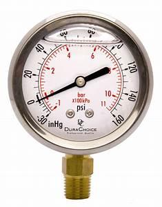 2-1  2 U0026quot  Oil Filled Vacuum Pressure Gauge  Br 1  4 U0026quot  Lower