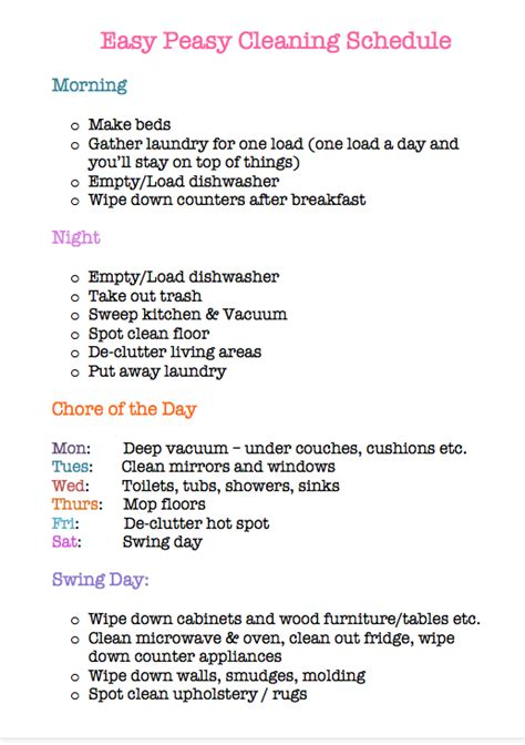 downloadable home cleaning schedule dump  frump