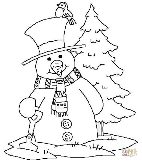 snowman  christmas tree coloring page  printable