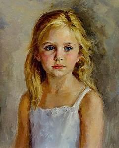 Art Oil painting portrait beautiful little girl portrait ...