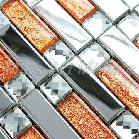orange kitchen tiles silver stainless steel mixed orange glass mosaic 1220