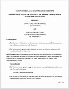 subcontracting agreement template - how to write a subcontractor agreement 7 downloadable