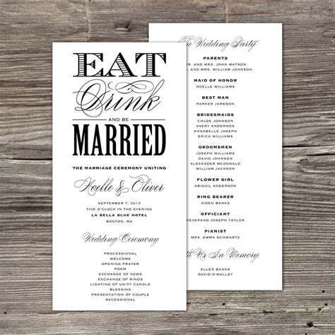 non traditional wedding reception program ideas 7 best images about wedding program on simple weddings fonts and wedding program