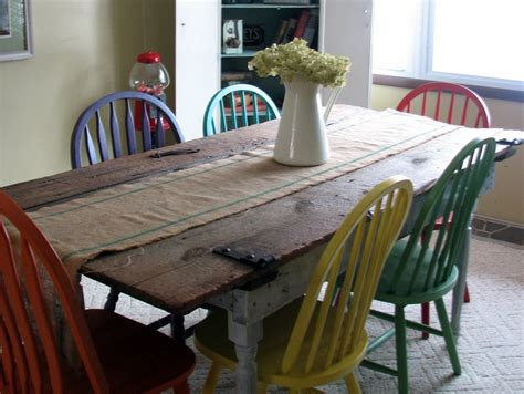 * Remodelaholic * Old Barn Door Recycled Into Kitchen Table