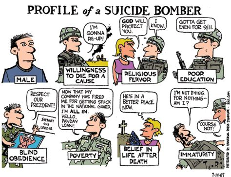 Ted Rall Cartoon Depicts American Soldier As A Suicide Bomber
