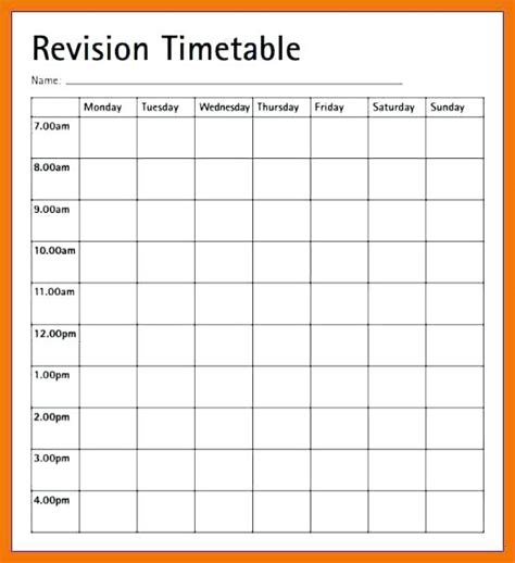 Template Revision Timetable Image Collections Template Blank Revision Timetable Template Puntogov Co