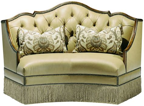 leather settees leather settee with wood trim and chic fringed skirt