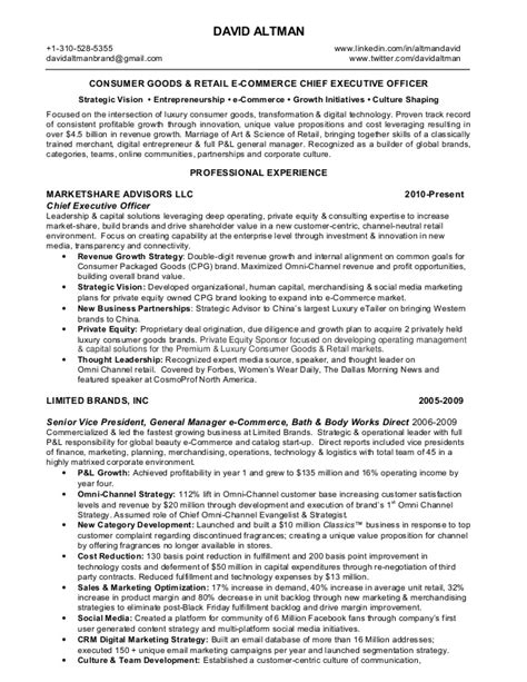 Ecommerce Sales Manager Resume by David Altman Consumer Goods Retail Omni Channel E