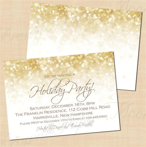 white gold sparkles holiday party invitations christmas