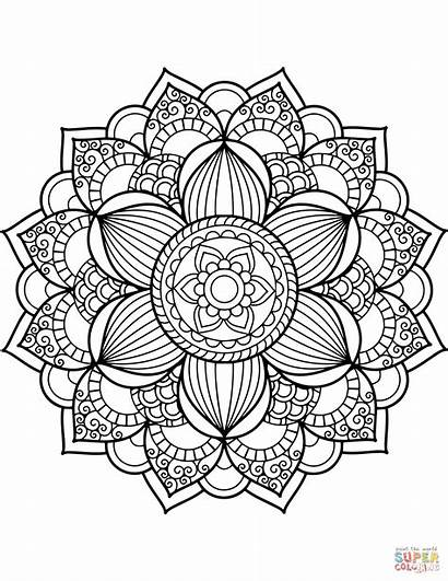 Coloring Mandala Pages Flower Printable Drawing