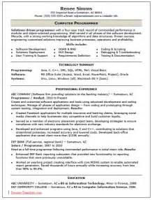 programming skills in resume free skilled computer programmer resume template sle ms word