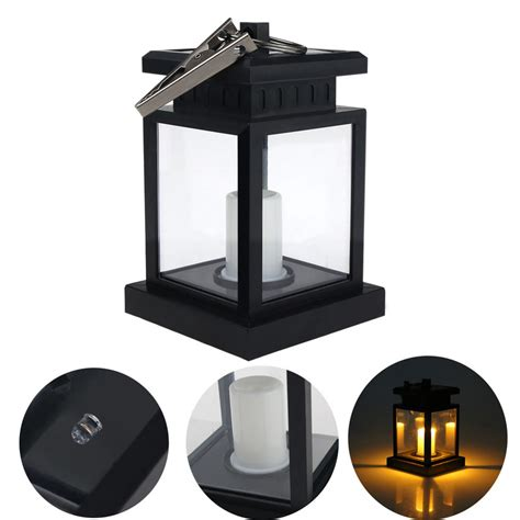 outdoor solar powered candle lantern light garden yard
