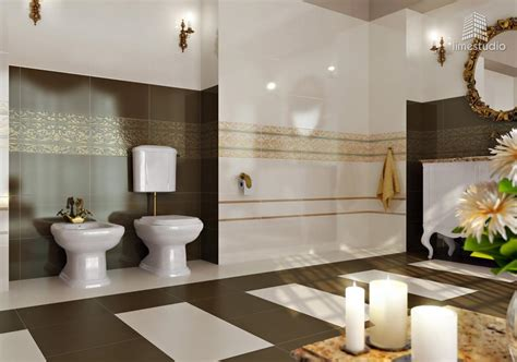 salle de bain design or blanc marron