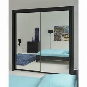 Porte Coulissante Miroir : eden armoire de chambre 156 cm noir achat vente ~ Carolinahurricanesstore.com Idées de Décoration