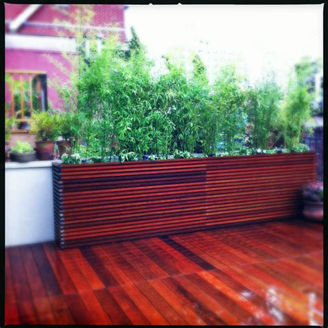 chelsea roof deck ipe planter boxes bamboo privacy screen container plant contemporary
