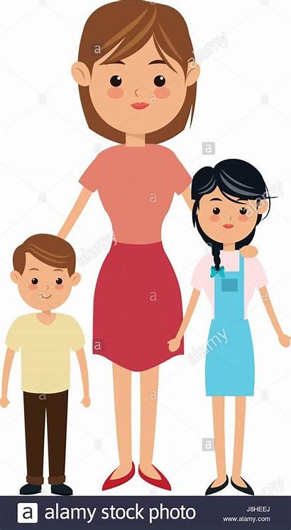 Mother Cartoon Children Boy Alamy Vector