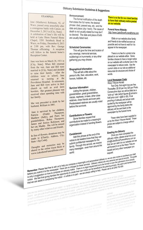 Writing An Obituary Template by Writing An Obituary Template Waco Cremation