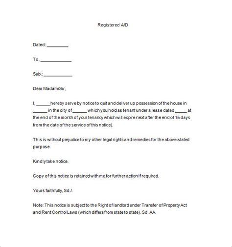 sample tenancy notice templates