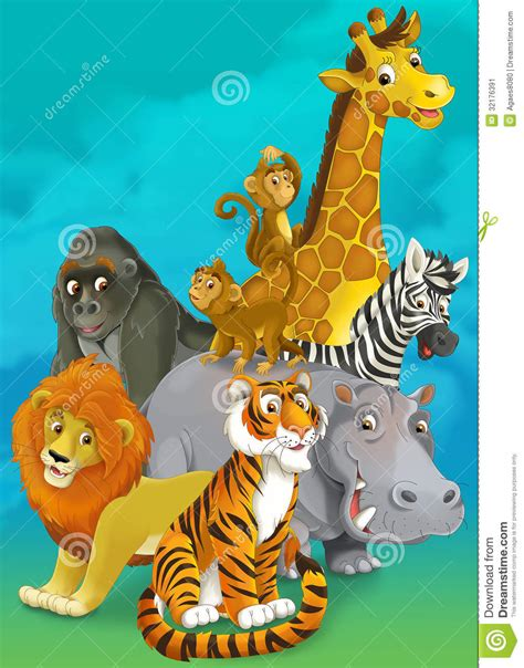 cartoon safari illustration   children stock image