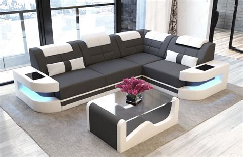 Modern Sofa L Shape by Denver Fabric Modern Sofa Stof Leather Mix